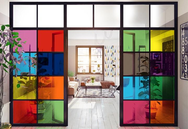 Autocollant statique Xijier Film de confidentialit/é pour fen/être 40 x 60 cm Motif carrelage color/é Sans colle Vinyle